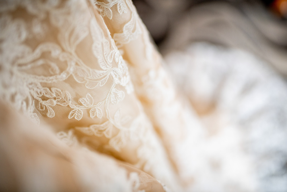 Blush and lace wedding dress for a Cleveland bride