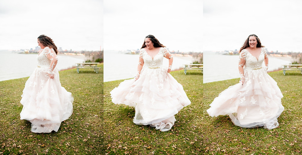 bride spins and dances in her wedding dress at edgewater park in cleveland ohio