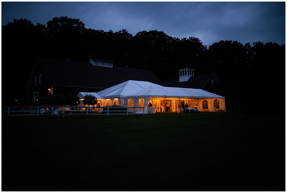 night shot of the reception tent after wedding