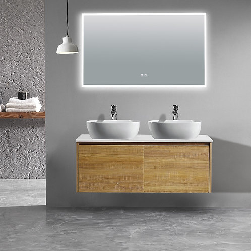 1200 double light oak plywood wall bathroom vanity plain white quartz top freestanding ceramic vessel basin tap
