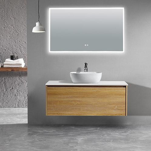1200 light oak plywood wall bathroom vanity plain white quartz top freestanding ceramic vessel basin tap led demister mirror