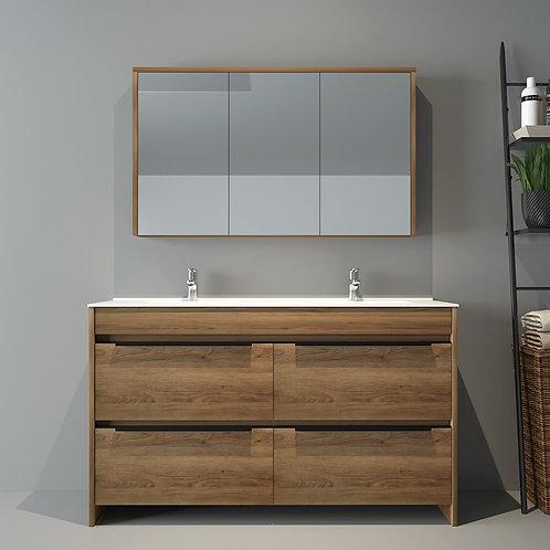 1400mm Floor Natural Oak Bathroom Vanity with Double Basin