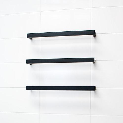 Single Bar Black Heated Towel Rail 620mm