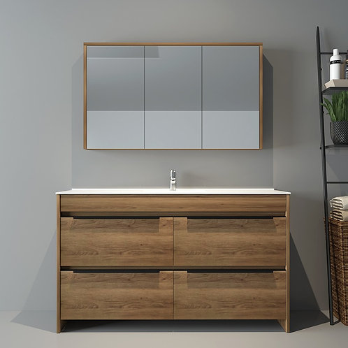 1200mm Floor Natural Oak Bathroom Vanity with Single Basin