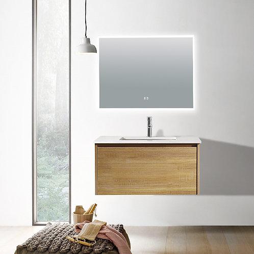 750 light oak plywood wall bathroom vanity plain white quartz top deep ceramic basin chrome mixer led demister mirror