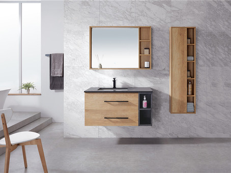 Glacier oak vanity with elegant grey quartz top