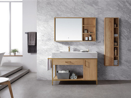 Glacier oak with bronze frame vanity