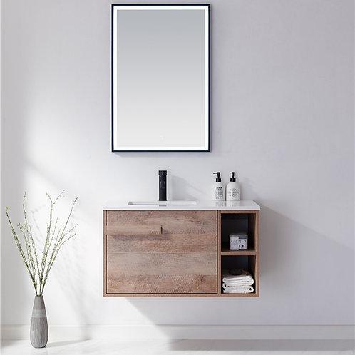 900 bathroom wall plywood vanity cabinet open shelf stone top ceramic basin deep sink