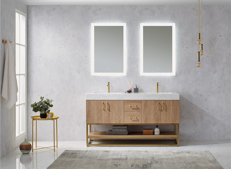 1500 Avoiro oak plywood cabinet with brass frame bathroom vanity
