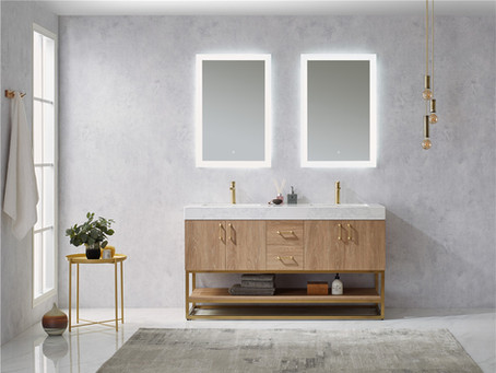 1500 Avoiro oak plywood cabinet with brass frame bathroom vanity