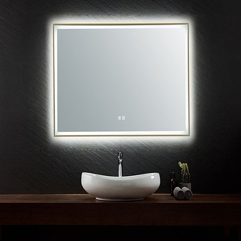 750 antique brass golden framed led makeup vogue demister anti-fog bathroom mirror warm cool white light dimmable