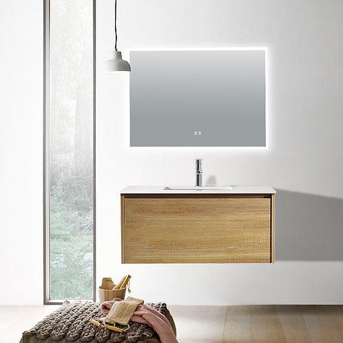 900 light oak plywood wall bathroom vanity plain white quartz top deep ceramic basin chrome mixer led demister mirror