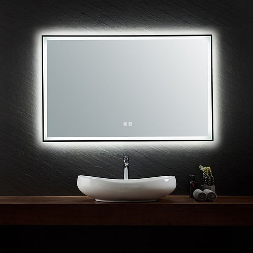 Black Framed LED Mirror | Demister | 1200*750