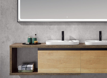 Red rust marble plywood with glacier oak cabinet double vanity