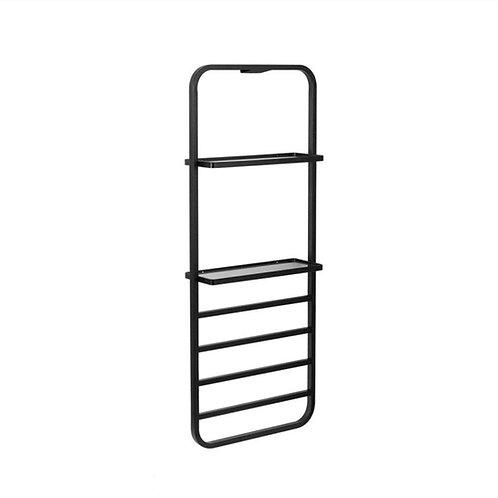 Matt black Heated Towel Rail with two Glass Shelves 400*1010mm