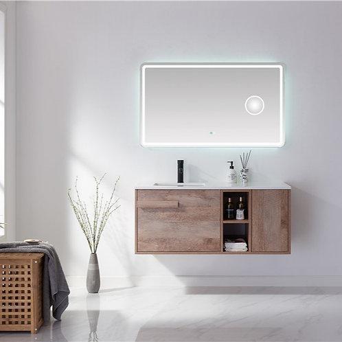 1200 bathroom wall plywood vanity cabinet stone top ceramic basin deep sink open shelf big drawer click-to-open door