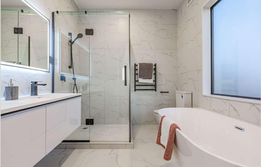 ty white vanity+corian basin+led mirror.