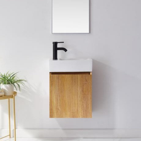 450 light oak plywood wall mounted bathroom vanity glossy white ceramic basin black tap