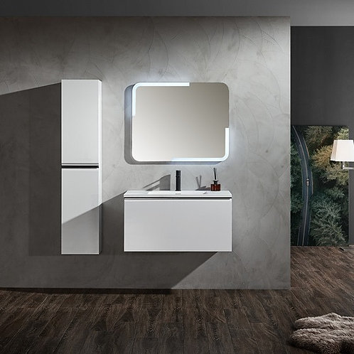900 glossy white bathroom plywood vanity matt corian basin tower tall medicine towel cabinet black mixer led demister mirror