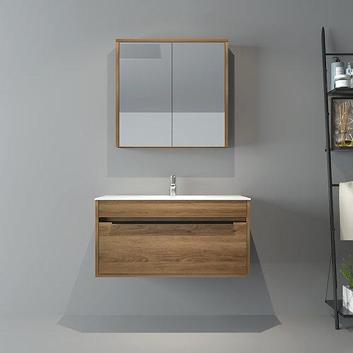 900mm Wall Hung Natural Oak Bathroom Vanity with Black handle