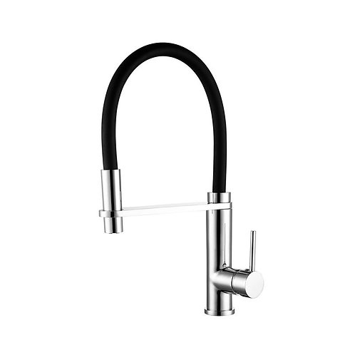 Black & Chrome Pull Out Kitchen Mixer