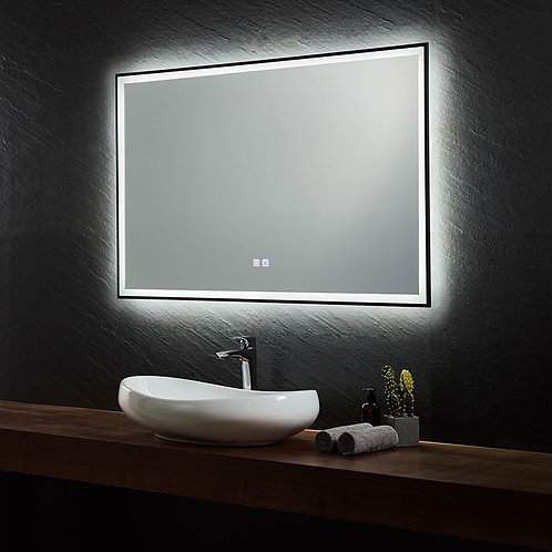 Black Framed LED Mirror | Demister | 1400*750