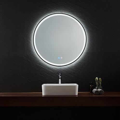 Black Framed LED Round Mirror | Demister | 800*800