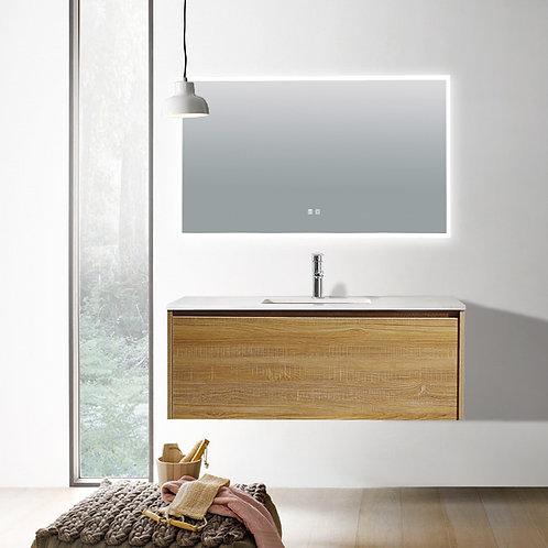 1200 single light oak plywood wall bathroom vanity plain white quartz top deep ceramic basin chrome mixer led demister mirror