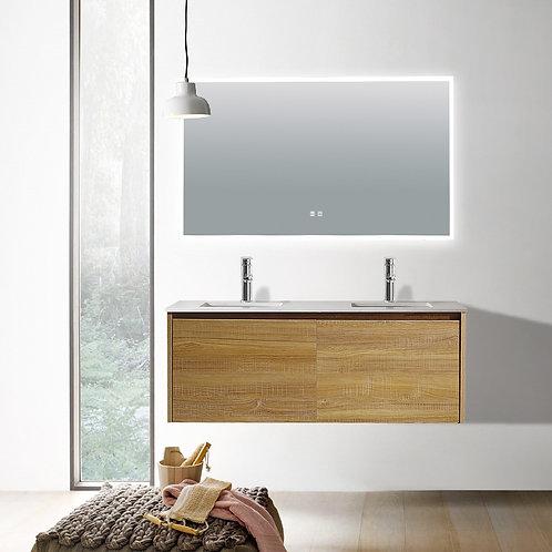 1200 double light oak plywood wall bathroom vanity plain white quartz top deep ceramic basin chrome mixer led demister mirror