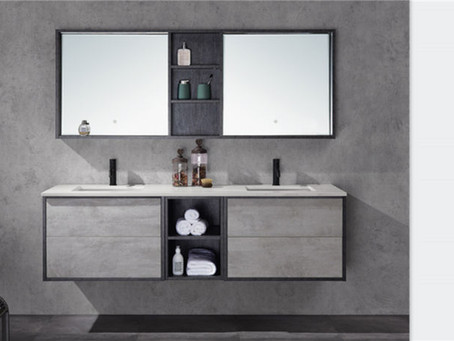 Suede dark grey and light marble grey vanity