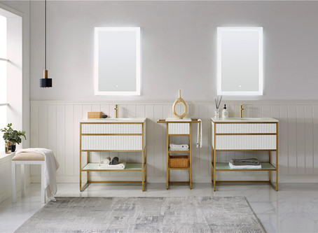 Glossy white plywood with golden frame custom vanity