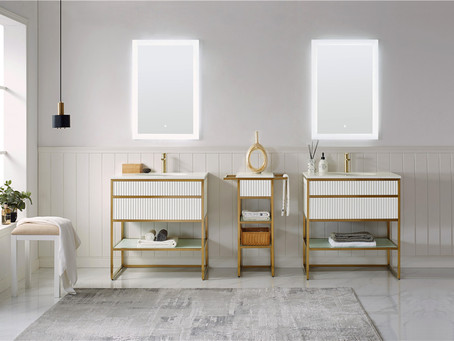 Glossy white plywood with golden frame custom vanity