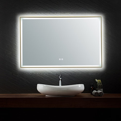 1200*750 antique brass golden framed led makeup vogue demister anti-fog bathroom mirror warm cool white light dimmable
