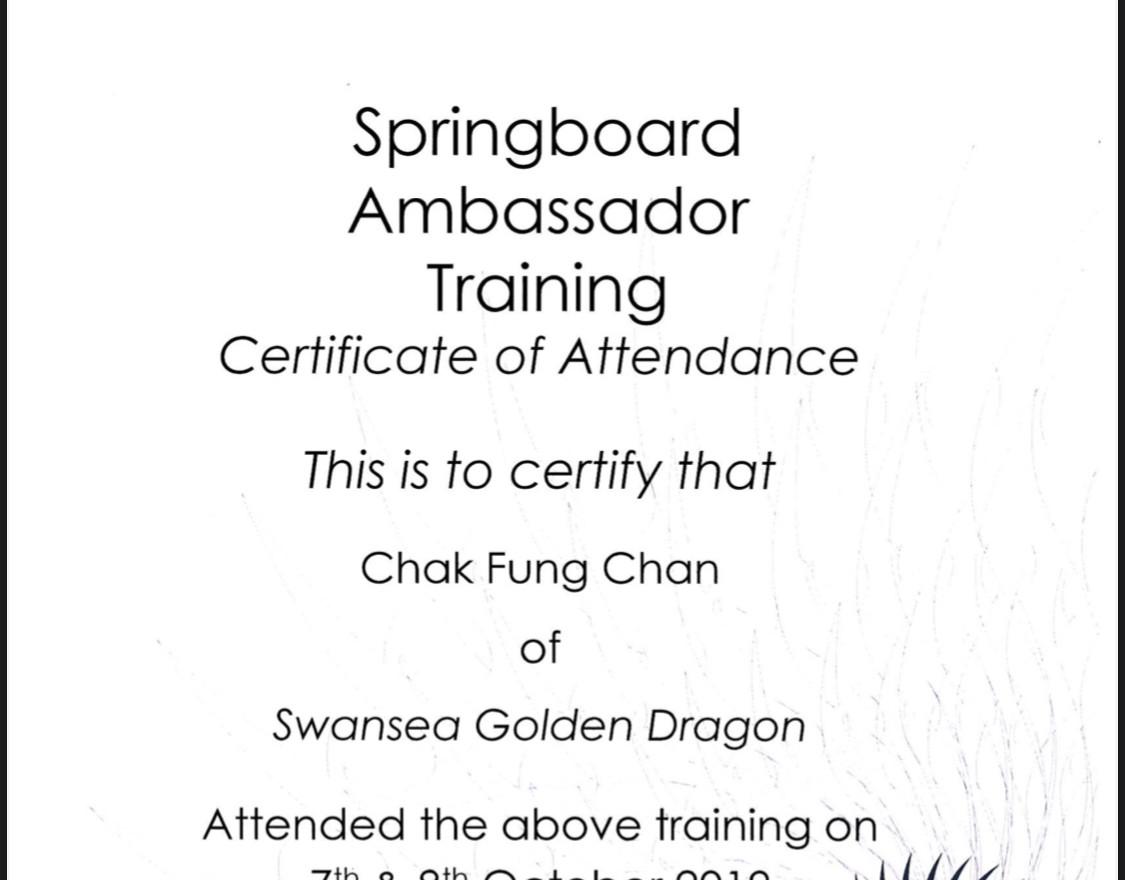 Jacky become a Springboard Ambassador