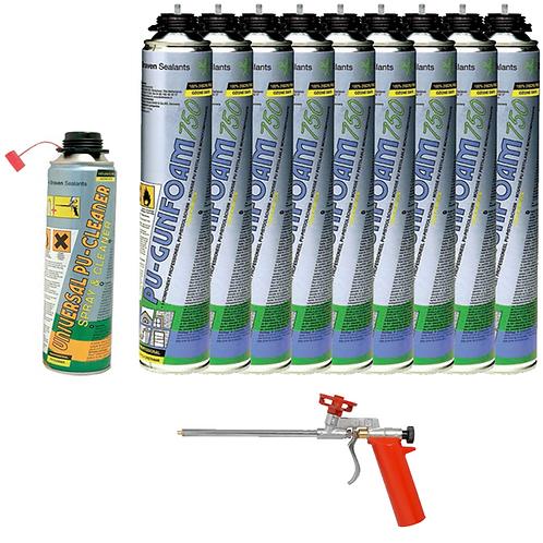 Kit 9 bombes de mousse polyuréthane 1 nettoyant et 1 pistolet