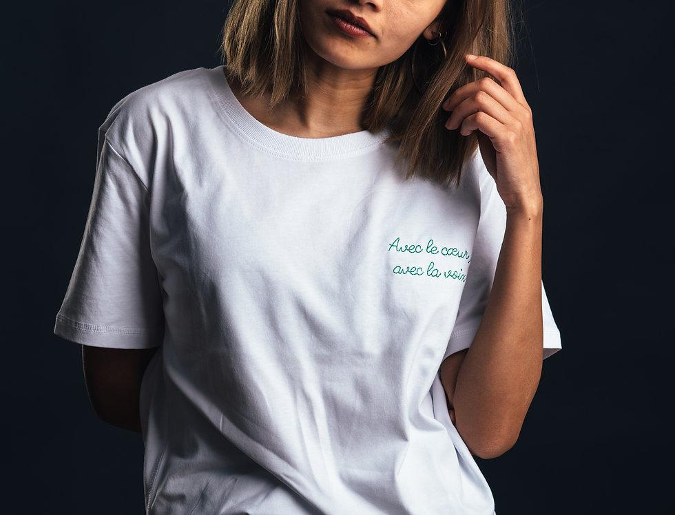 """T-shirt Saint-Etienne - """"Avec le cœur, avec la voix"""""""