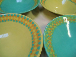 Lime and turquoise dotty bowls.