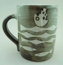 Resist mug with tugs.