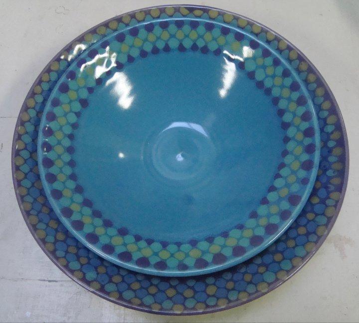 Blue and purple  dotty bowls
