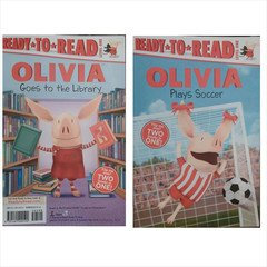Olivia Goes to the Library and Olivia Plays Soccer (Two-in-one Book)