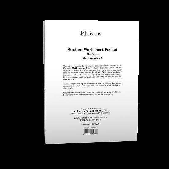 Horizons Math 5th grade Student Worksheet Packet