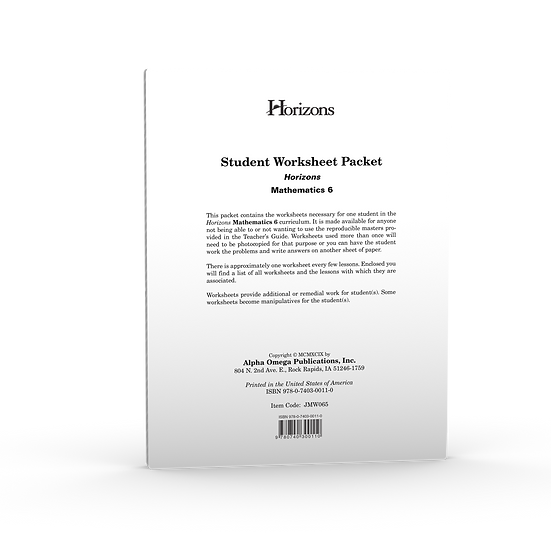Horizon's Math 6th Grade Student Worksheet Packet