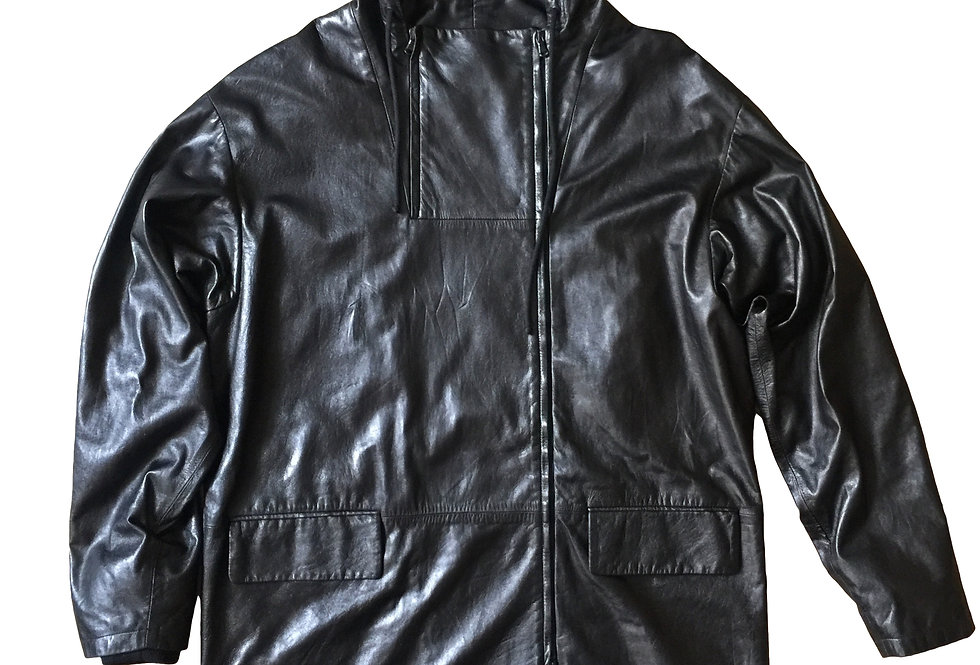 Helmut Lang 2001 Hooded Leather Coat