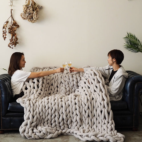 Cloudy hand knit Blanket<LL/180cm×144cm>