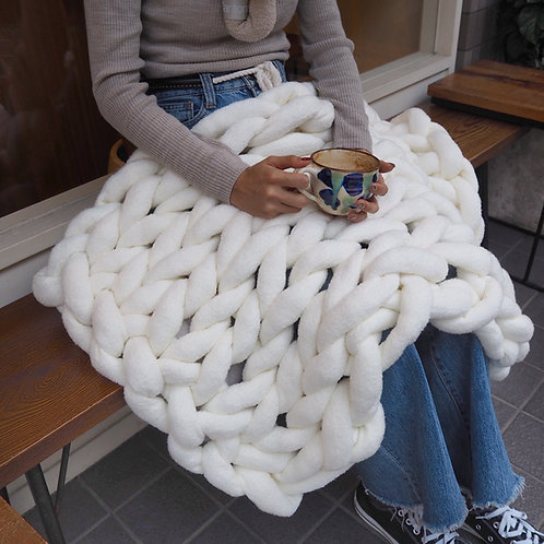 Cloudy hand knit Blanket<S/65cm×54cm>