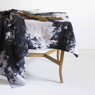 hand dyed linen table cloth