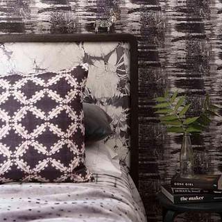 Shibori wallpaper in bedroom