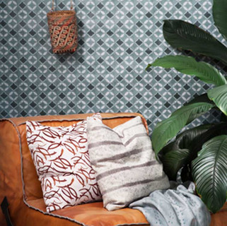 Wallpaper and leather upholstered chair