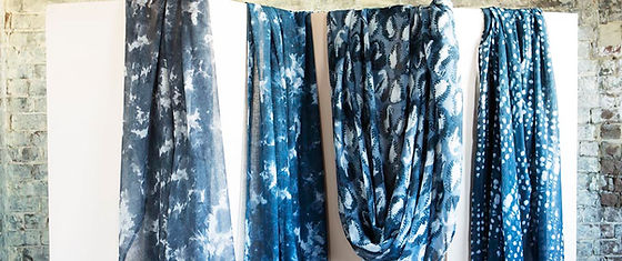Shibori tableclothes hanging.jpg