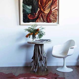 Heat set artwork and leather rug